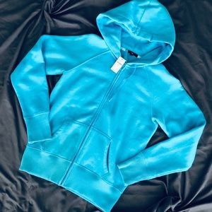 NWT GAP Turquoise Zip Front Hoodie, Size M